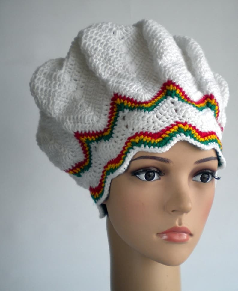 70999682c4c Chevron beanie rasta hat dreadlock crown slouchy reggae hat