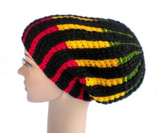 Rasta hat, big dreadlock beanie, vertical stripes, rasta slouch, reggae clothing, Jamaica, Africa
