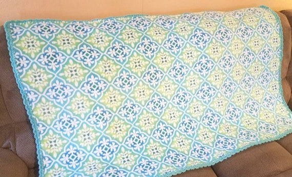 blue and green fleece throw blanket aqua blue and lime green etsy. Black Bedroom Furniture Sets. Home Design Ideas