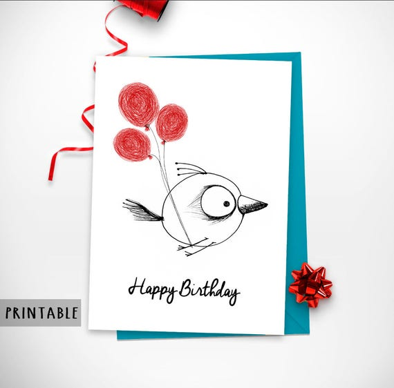 Printable Happy Birthday Card Instant Download Red