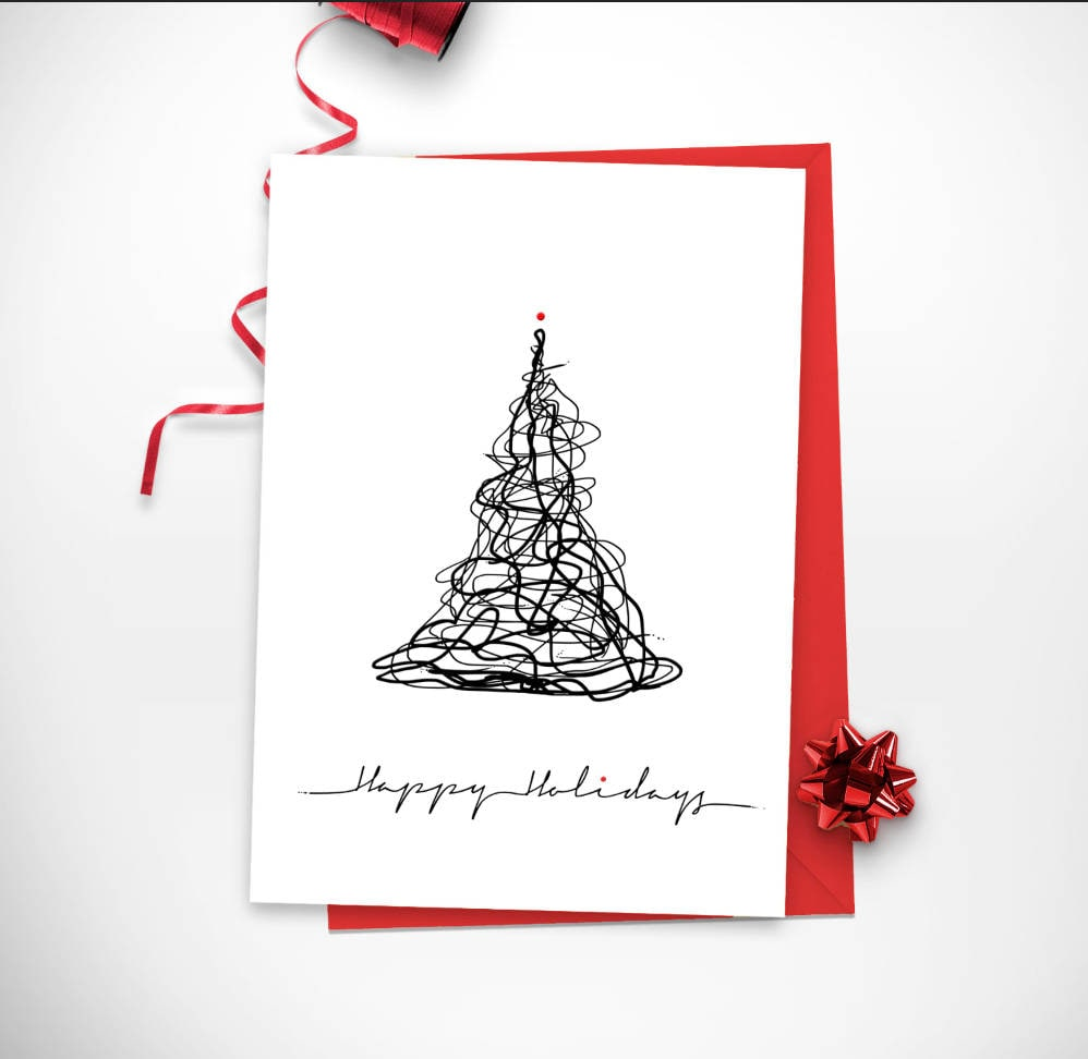 Set Of Christmas Tree Happy Holidays Minimal Card