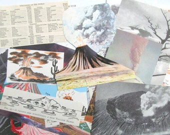 Volcano paper craft kit: 20 vintage paper pieces including diagrams, pictures. Ephemera pack for scrapbooks, journals, collage EP900