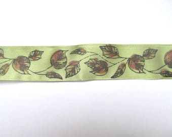 Green and brown leaf ribbon: 3m of autumnal wired trim. 40mm wide ribbon for sewing, craft, scrapbooks, gift wrapping. RP19