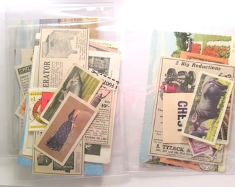 Small vintage paper ephemera pack: 20 mixed pieces for craft. Scrap pack of postcard, stamps. Pack for scrapbooks, journals, smash books