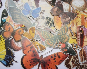 Vintage butterflies 40 die cut style pieces. Pack of colourful paper embellishments for art journals, scrapbooks, collage PE751