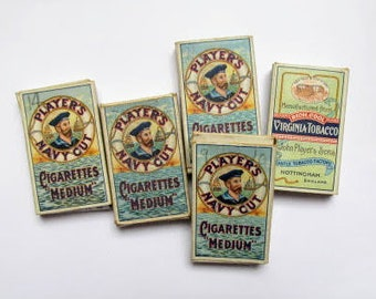 5 John Player cigarette packets: original vintage boxes with sailor image. Collectible ephemera or for use in craft, altered art OT693