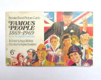 Famous People Brooke Bond Tea cards complete album: booklet filled with full set of 50 cards from 1969. Collectable or use in craft OT671