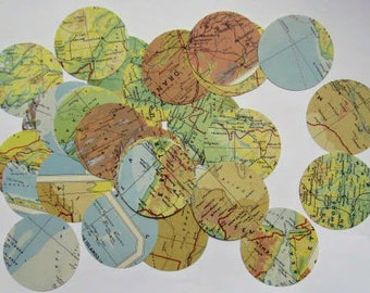 2 inch map circles: 40 circles hand punched from 1950s maps. Die cut embellishment for scrapbook, travel journal, collage, craft. M53