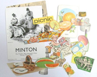 Picnic paper craft kit: pack of 30 vintage paper pieces. Die cuts, pictures, titles for scrapbooks, smash books, collage EP920