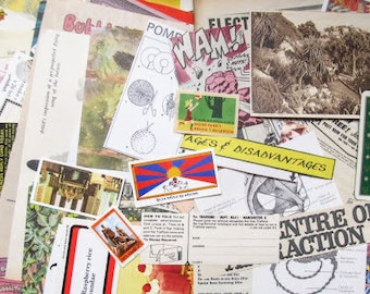 Large paper ephemera pack: 200 mixed vintage pieces for scrapbook, collage, altered art, journal. Die cuts, cards, stamps & more EP988