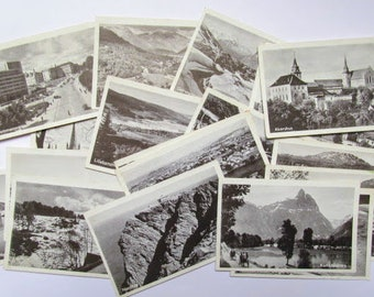 Vintage Norway pictures: pack of 20 black and white images. Ephemera for scrapbooks, travel journals, collage, mixed media OT698