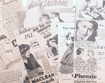 1950s health and medicine adverts: pack of 18 black & white adverts from magazines Ideal ephemera supply for craft, collage, scrapbook. AD32