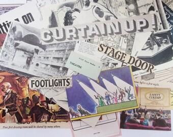 Theatre themed paper ephemera: 23 vintage paper pieces. Pack for scrapbooks, art journals, collage. EP123BB