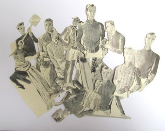 Vintage 1950s men die cut style embellishments: pack of 18 hand cut from vintage books. Ephemera pack for scrapbook, journaling. PE495
