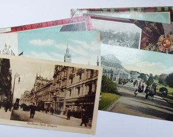 Vintage Glasgow, Scotland postcards. 6 used and unused cards for collecting, travel journal, collage. PC230