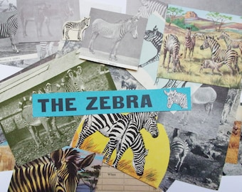 Vintage zebra paper craft pack: 29 pieces including book clippings, pictures, cards. Craft kit for scrapbook, journaling, collage EP137B