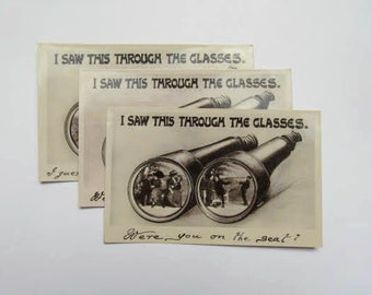 3 Edwardian postcards: 'I Saw This Through the Glasses' series by Davidson Bros. Unused postcards for collecting, scrapbooks, journals PC168