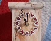 Driftwood clock, ceramic hearts, pottery, driftwood, mantelpiece clock, clock, small clock