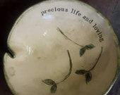 Poetry bowl, bowl with poetry, poem about life, hand decorated bowl, handmade bowl, decorative bowl, bowl with leaves, small bowl, pottery