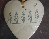 Patterned ceramic heart - hanging decoration - Christmas gift -  coloured heart - trees - winter trees - tree decoration - heart with trees