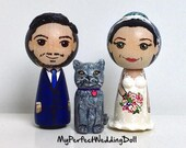 Bride+Groom+Cat/Wedding Cake Topper (approx. 7 cm tall)