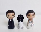 Cake Topper/Wedding Couple + Pet/Anniversary gift/Personalised/3 Peg dolls /dog - 7 cm tall