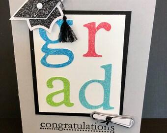 Modern, Glitter Graduation Card