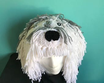 Hand Crocheted Sheepdog Hat