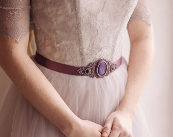 Lilac sash, Purple wedding sash, Provence bridal belt, Purple bridal sash, Purple bridal belt, Provence wedding sash, bridal sash purple