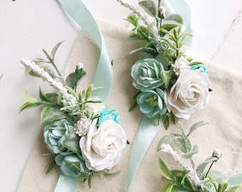 Blush Corsage or Boutonni\u00e8re Mint Black Brown and Gold