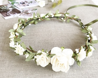 Flower crown, Bridal flower crown, White Ivory Floral crown, Wedding flower crown, Bridal floral crown, Leaf flower crown, Woodland Wedding