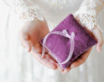 Lilac Ring Pillow, Ring Bearer Pillow, Ring Pillow, Wedding Ring Pillow, Ring Bearer, Velvet Pillow, Rustic Wedding, Ring Cushion,Ring Box