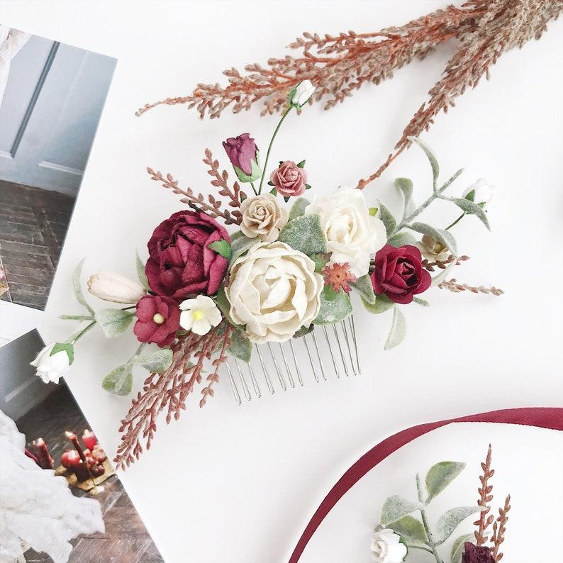 e750370aed086 Burgundy floral comb, Burgundy flower Hair comb, Deep red bridal hair comb,  bridal flower headpiece, wedding hair comb, rustic wedding