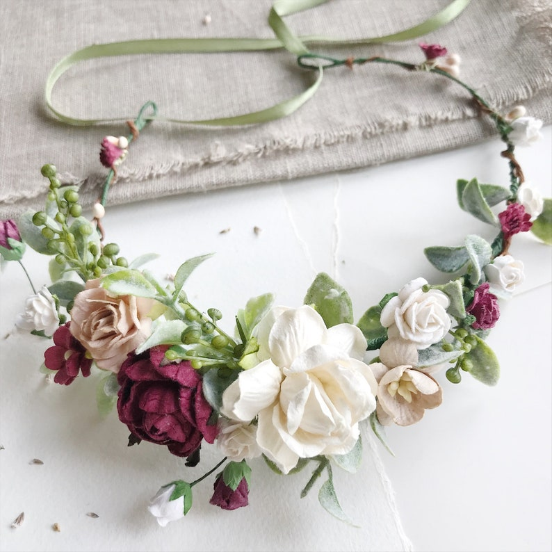 floral halo burgundy floral crowm floral headpiece floral hairpiece wedding floral crow Bridal floral crown ivory flower crown