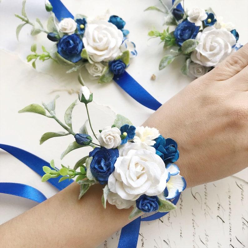 flower bobby pins blue floral hair pins blue flower bobby pins set of 9 hair pins Blue flower hair pins ivory bridal flower hair clip