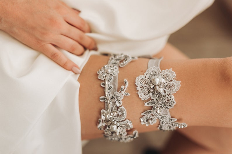 gray lace wedding garter Bridal garter set floral bridal garter vintage garter lace garter beaded garter crystal garter silver Garter