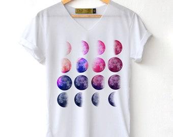 6296cc732154 Moon phase space Shirt - Moon Shirt Moon night T-Shirt High Quality Graphic  T-Shirts Unisex