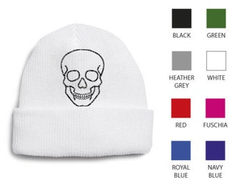 de9b41be199 Beanie Hat with Skull Embroidery (Including a Glow In The Dark Thread  Option!)
