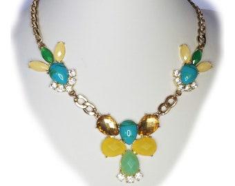 Multi Color Rhinestone Necklace