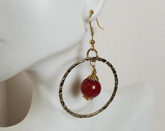 Red Earrings, Hoop Earrings, Beaded Jewelry, Red Jewelry, Ladies Earrings, Girls Earrings, Statement Earrings, Gold Plated Earrings