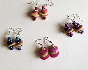 Wood Bead Earrings, Beaded Earrings, Dangle Earrings, Wood Jewelry, Boho Jewelry, Boho Earrings, Wooden Earrings, Wood Beads, Earrings Wood