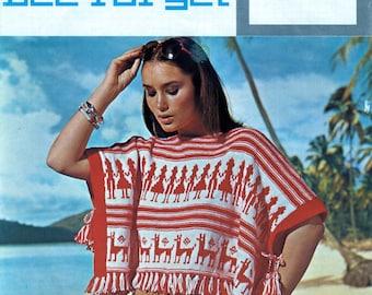 Beach Poncho Vintage Knitting Pattern / Lister Lee Target / Original 1970's Pattern