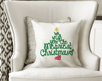 Pillow,Embroidered,We Wish You Merriest Xmas, Christmas Gift,Throw Pillow,Christmas Decor, Decorative Pillow, Custom