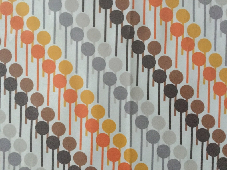 Orla Kiely Style Printed Cotton Fabric Piece With PU Coating