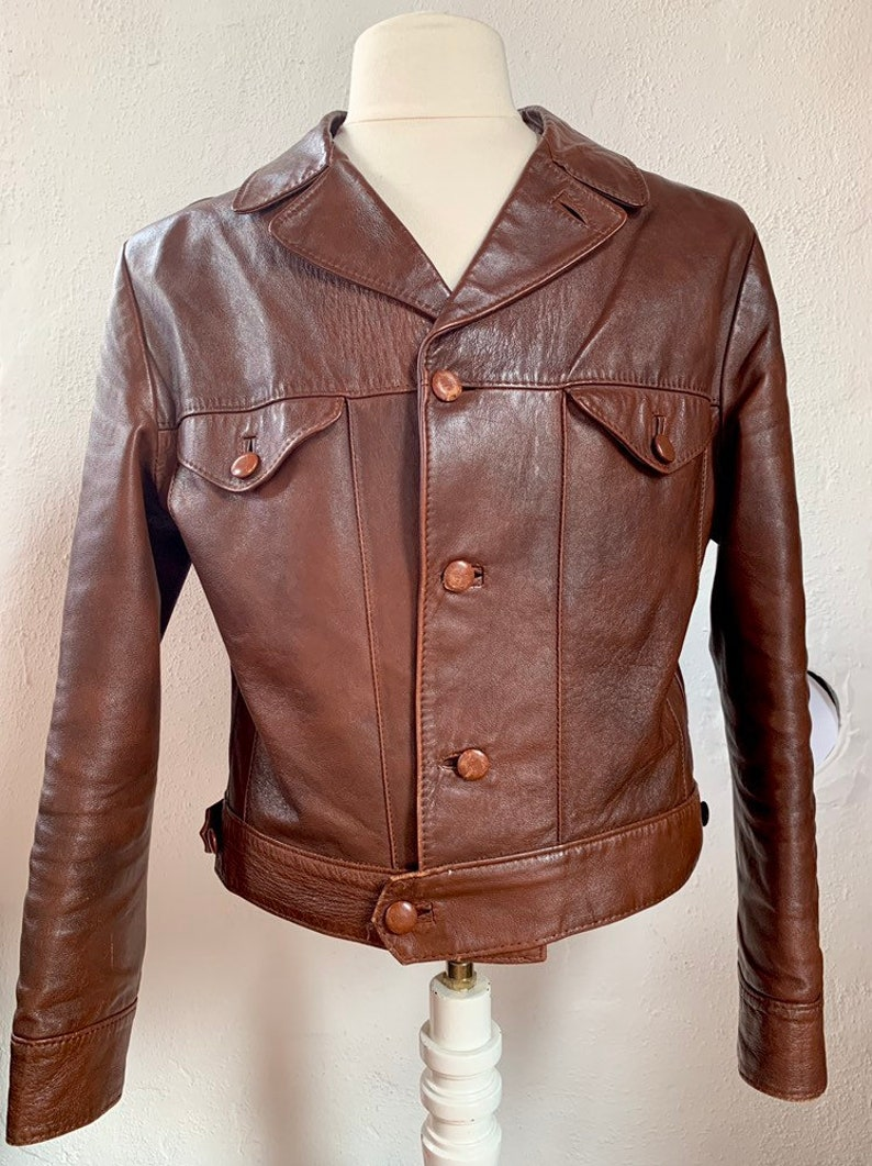 finest selection 84b13 cb7c3 Vtg CULT VINTAGE '70 Giubbotto Giacca Uomo Pelle Man Leather Jacket Sz.M -  48