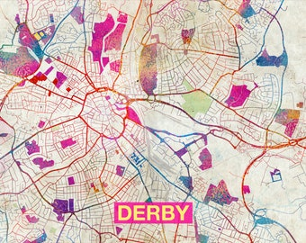 Derby map   Etsy