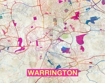 Warrington map | Etsy