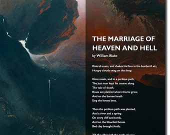 The Marriage of Heaven and Hell Poem by William Blake - Heaven / Hell - Art Print Poster Gift Photo Quote Wall Home Decor UNFRAMED