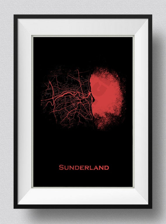 Sunderland England UK Map Art Print Red | Etsy