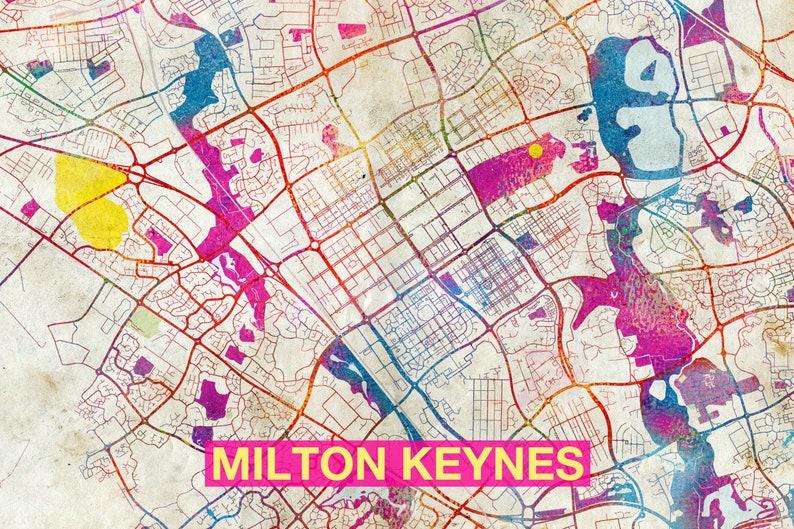 Map Of England Milton Keynes.Milton Keynes Map Original Art Print City Street Map Of Milton Keynes England Poster Watercolor Illustration Wall Art Home Decor Gift